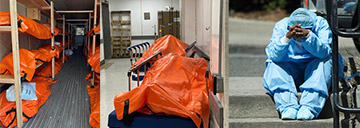 Disturbing Photos Show Body Bags Lining The Hallways Of A Brooklyn Hospital Before Being Wheeled